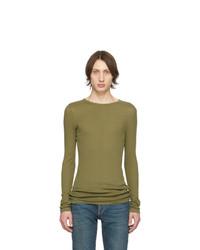 olivgrünes Langarmshirt von Saint Laurent