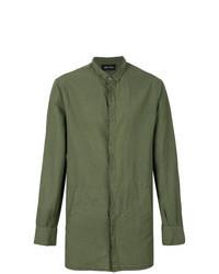 olivgrünes Leinen Langarmhemd