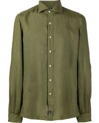 olivgrünes Leinen Langarmhemd von Fay
