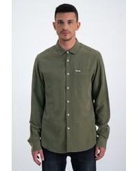 olivgrünes Leinen Langarmhemd von GARCIA