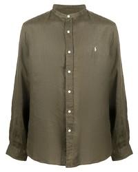 olivgrünes Leinen Langarmhemd von Polo Ralph Lauren