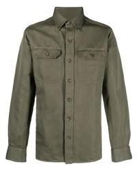 olivgrünes Leinen Langarmhemd von Tom Ford