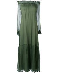 olivgrünes schulterfreies Kleid von P.A.R.O.S.H.