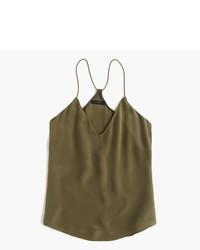 olivgrünes Seide Trägershirt