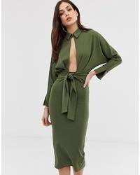 olivgrünes Shirtkleid von ASOS DESIGN