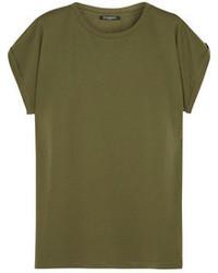 olivgrünes T-Shirt mit einem Rundhalsausschnitt