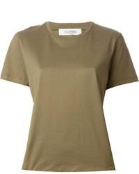 olivgrünes T-Shirt mit einem Rundhalsausschnitt von Valentino