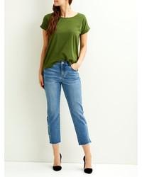 olivgrünes T-Shirt mit einem Rundhalsausschnitt von Vila