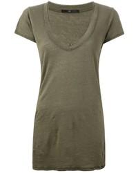olivgrünes T-Shirt mit einem V-Ausschnitt