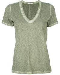 olivgrünes T-Shirt mit einem V-Ausschnitt von Rag & Bone