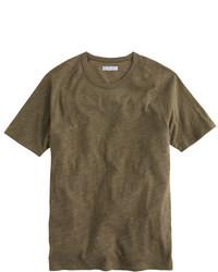 olivgrünes T-Shirt mit Rundhalsausschnitt