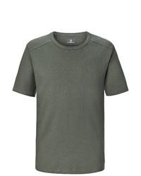 olivgrünes T-Shirt mit einem Rundhalsausschnitt von Jan Vanderstorm