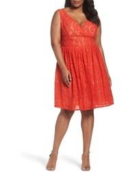 orange ausgestelltes Kleid aus Spitze