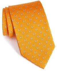 orange bedruckte Krawatte