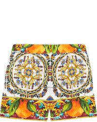 orange bedruckte Shorts von Dolce & Gabbana