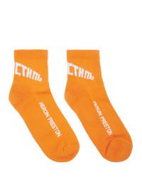 orange bedruckte Socken von Heron Preston