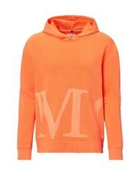 orange bedruckter Pullover mit einem Kapuze von Marc O'Polo
