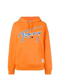 orange bedruckter Pullover mit einer Kapuze