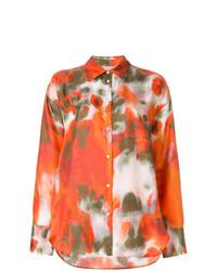 orange bedrucktes Businesshemd von MSGM