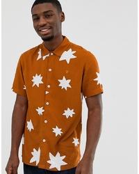 orange bedrucktes Kurzarmhemd von Farah