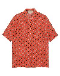 orange bedrucktes Kurzarmhemd von Gucci