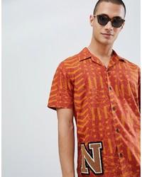 orange bedrucktes Kurzarmhemd von Nudie Jeans