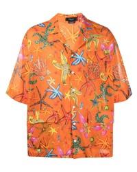 orange bedrucktes Kurzarmhemd von Versace