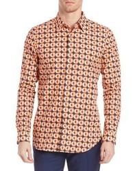orange bedrucktes Langarmhemd