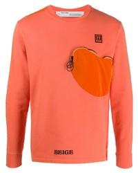 orange bedrucktes Langarmshirt von Off-White