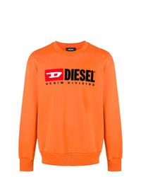 orange bedrucktes Sweatshirt von Diesel