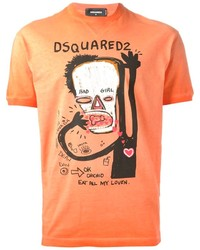 orange bedrucktes T-Shirt mit einem Rundhalsausschnitt