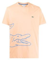 orange bedrucktes T-Shirt mit einem Rundhalsausschnitt von Lacoste