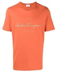 orange bedrucktes T-Shirt mit einem Rundhalsausschnitt von Salvatore Ferragamo