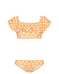 orange Bikinioberteil mit Rüschen von Lisa Marie Fernandez