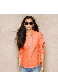 Orange Bluse mit Knöpfen
