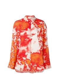 orange Businesshemd mit Batikmuster