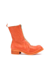 orange Chelsea Boots aus Leder