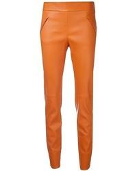 orange enge Hose aus Leder