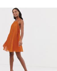 orange schwingendes Kleid mit Falten von Asos Tall