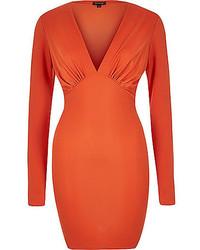 orange figurbetontes Kleid