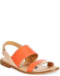orange flache Sandalen aus Leder