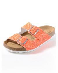 orange flache Sandalen aus Leder von Alba Moda