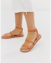 orange flache Sandalen aus Leder von ASOS DESIGN