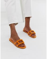 orange flache Sandalen aus Wildleder von Mango