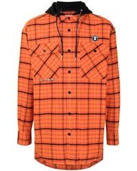 orange Flanell Langarmhemd mit Schottenmuster von AAPE BY A BATHING APE