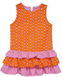 orange gepunktetes Kleid