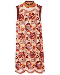 orange gerade geschnittenes Kleid aus Spitze mit Blumenmuster von Burberry