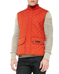 orange gesteppte ärmellose Jacke