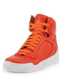 orange hohe Sneakers aus Leder