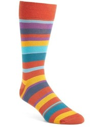 orange horizontal gestreifte Socken